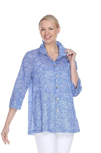 Terra-Sj Apparel Women's 3/4 Length Sleeves Top with Convertible Collar