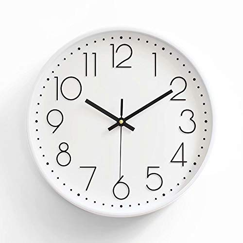 """(Large Kitchen Clocks 12""""Silent Non-Ticking Cool Quartz Clock with Metal Frame for Living Room, Kids Room, Office, School - Battery Operated)"""