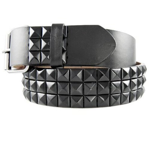 Geniune Leather Black Studded Belt with Black Studs, Medium (Stud Studded Black Belt)