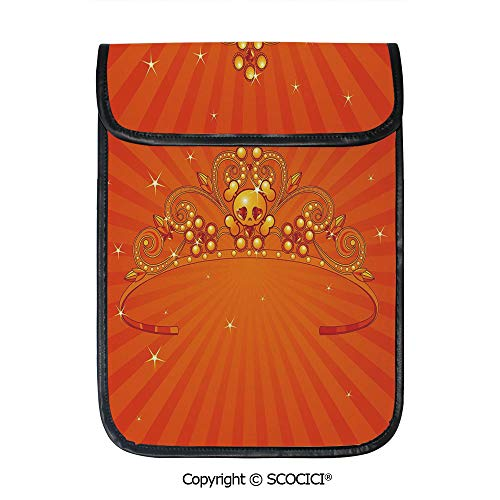 SCOCICI iPad Pro 12.9 Inch Sleeve Tablet Protective Bag Fancy Halloween Princess Crown with Little Skull Daisies On Radial Orange Backdrop Stars Decorative Custom Tablet Sleeve Bag Case]()