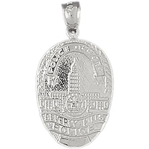 14k White Gold Beverly Hills Police Pendant Beverly Hills Gold Jewelry