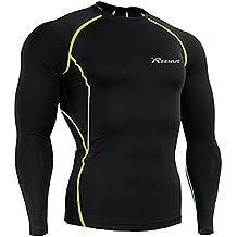Reehut Compression Long Sleeve Shirt - Men's Cool Dry Skin Fit Long Sleeves T-Shirt