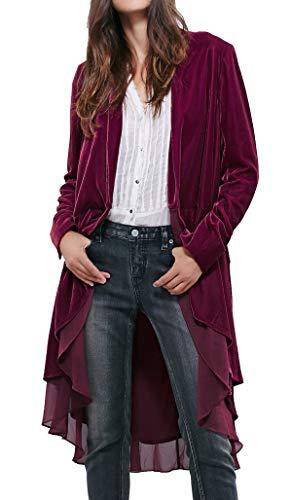 - R.Vivimos Womens Ruffled Asymmetric Long Velvet Blazers Coat Casual Jackets (XL, Mulberry)