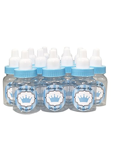Baby Shower Bottle Favors with Custom Personalized Stickers (Blue Bottle - Prince, 24 -