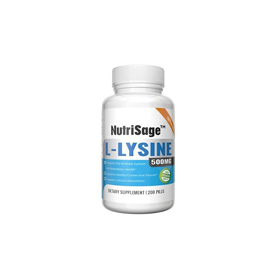 Premium Super L Lysine 500mg Amino Acid Tablets For Cold Sore Care, Shingles, Immune Support & More 200 Count Per Bottle