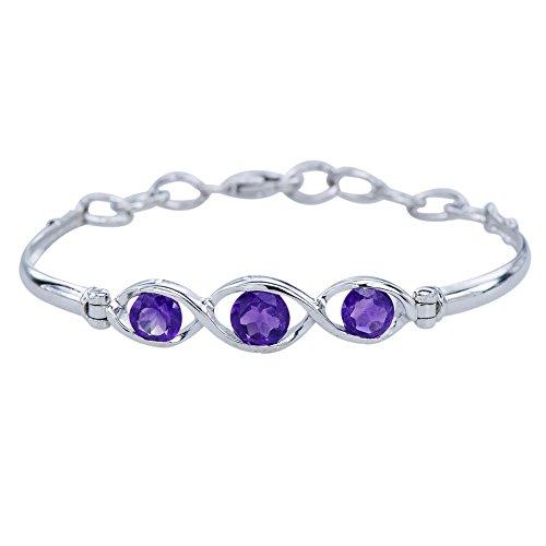 - Graceful Womens Amethyst Gemstone 925 Sterling Silver Infinity Bracelet Adj 6-7