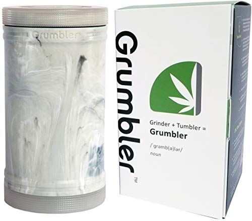 MyGrumbler.com Grumbler - Medical Herb and Accessory Storage Case w/Detachable Grinder, Pre-Roll Protector, Grinds Funnel. Smell Proof, Food Safe, Child Resistant (White ()