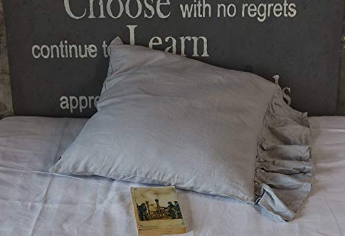 Stone grey linen pillow sham with mermaid long ruffle, Queen - 20