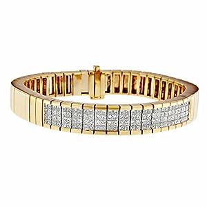 14KT Yellow Gold Layered Princess Cut Diamond Bracelet (3 5/8 cttw, G-H Color, VS1-VS2 Clarity)