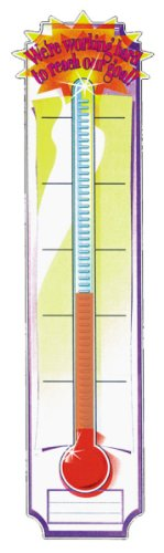 Eureka Thermometer Vertical Classroom Banner, Goal Setting, Measures 45 x 12