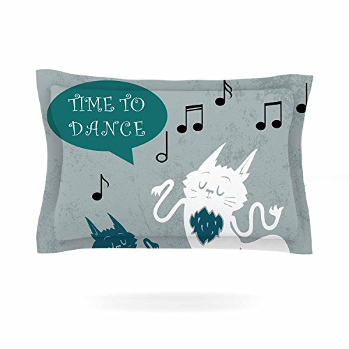 KESS InHouse Anya Volk ''Time To Dance'' Green White Pillow Sham, 40'' x 20'' by Kess InHouse