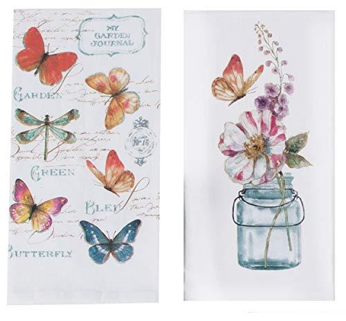 (Kay Dee Designs Butterfly Garden Floral Kitchen Flour Sack Towels, Bundle of 2)