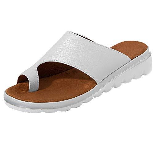 Xiakolaka Womens Slide Sandals Flat Platform Open Toe Bunion Sandals Silvery 36