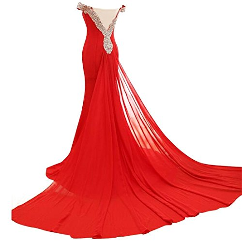 DreHouse Evening Women's Long Red Dresses Off the Prom Shoulder Dress Mermaid Crystal Beaded rrB6wH