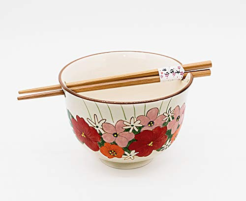 Japanese Ramen Udon Ceramic Chopstick Bowl with Built In Chopsticks Holder (5-3/8