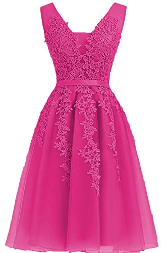Applique Prom Dresses Cdress Homecoming Cocktail Fuchsia Gowns Evening Tulle Neck Gowns V Short wOFXI