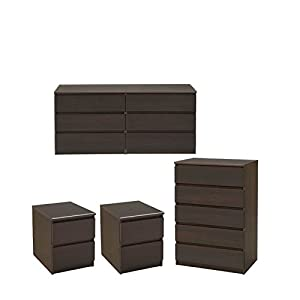 Home Square 4 Piece Bedroom Set with 6 Drawer Double Dresser, 5 Drawer Chest & Two 2 Drawer Nightstands in Coffee