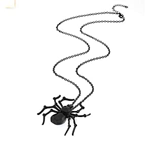 ISALOE Halloween Spider Necklace Big Black Crystal Spider Pendant Halloween Party Costume Accessories Necklace