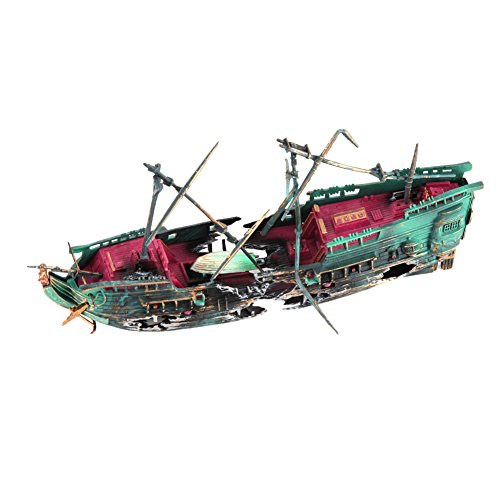 WinnerEco Aquarium Ornament Ship Air Split Shipwreck Fish Tank Decor Sunk Wreck Boat