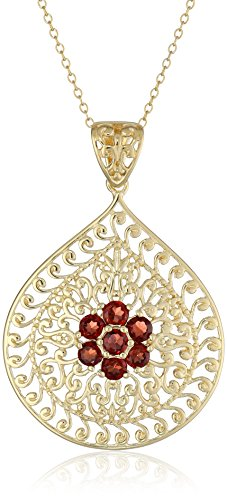 Jewelry 18k Garnet Set (18k Yellow Gold Plated Sterling Silver Genuine Garnet Floral Filigree Teardrop Pendant Necklace, 18