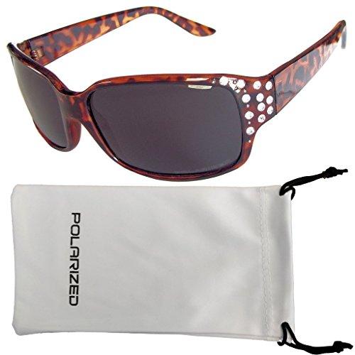 Vox Women's Polarized Sunglasses Designer Fashion Rhinestones – Tortoise Frame - Smoke - Vox Sunglasses