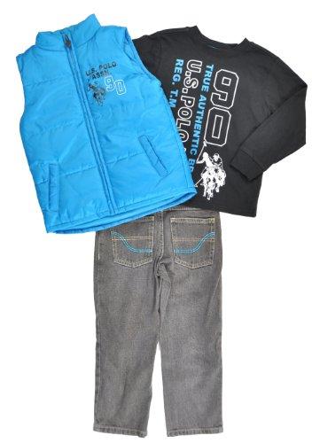 US Polo Assn Boys Teal Vest 3Pc Denim Pant Set