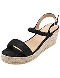 Womens Espadrilles Wedge, Peep Toe Round Toe Buckle Ankle Strap Solid Color High Heeled Ladies
