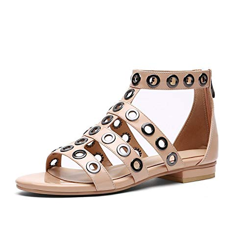 Summer Leather Women Sandals Metal Decoration Footwear Flat Sole Gladiator Sandals Ankle Strap Girl Shoes,Beige,8.5