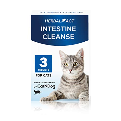 HerbalAct Health Supplements | Intestinal Cleanse | Cat Dewormer Alternative | Cleansing Tablets for Cats | Works for Kittens, Medium and Large Cat | 3 Tablets(Packaging May Vary)