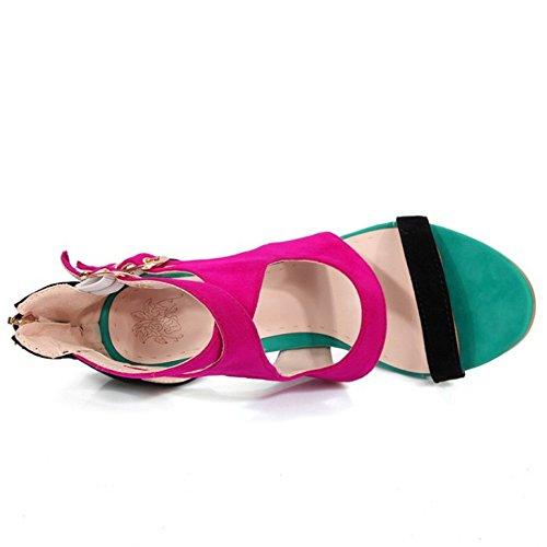 TAOFFEN Mujer Tacon Alto Cut-out Sandalias Moda Punta Abierta Verano Zapatos Negro