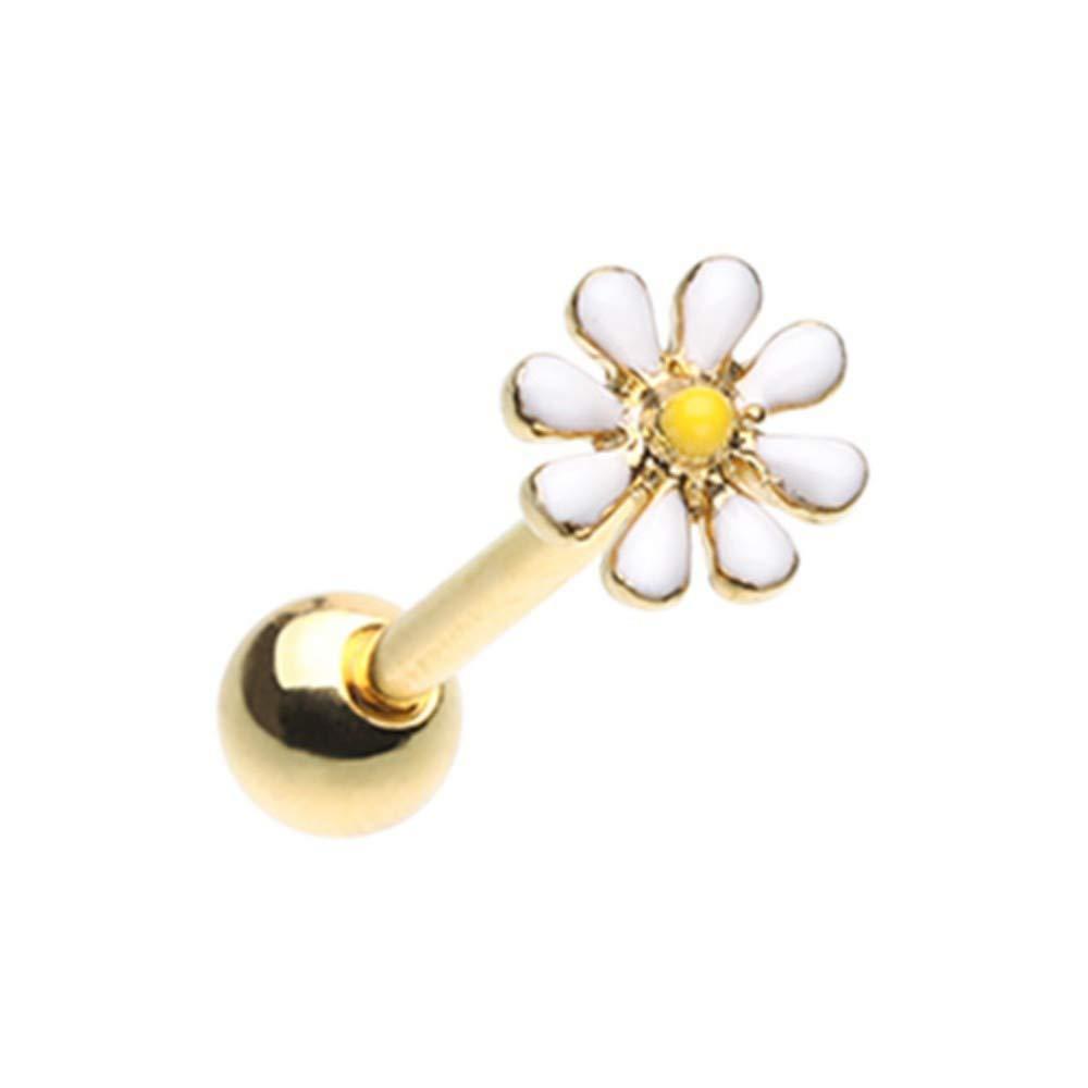 14 GA Golden Daisy Flower Barbell Tongue Ring 316L Stainless Surgical Steel Tongue Ring For Women and Men Davana Enterprises