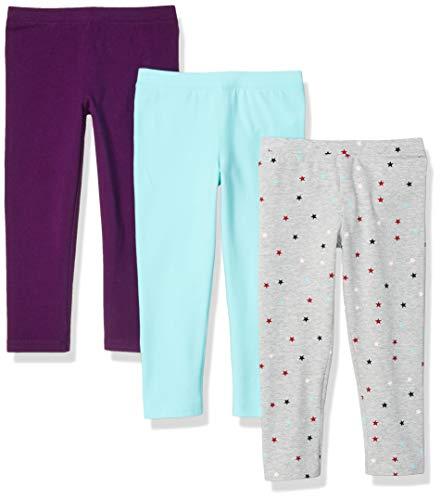 Amazon Essentials   Girls' 3-Pack Capri Legging, Star/Aqua/Jewel 4T ()