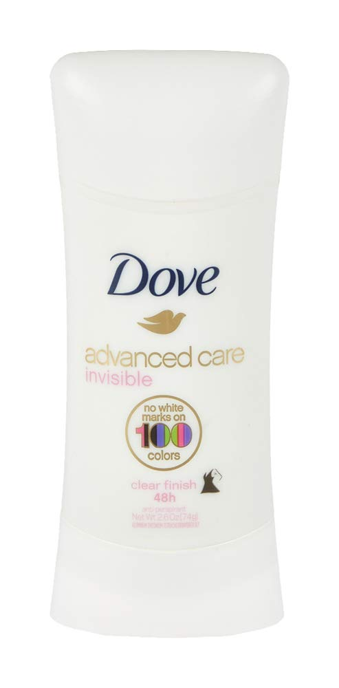 Dove Advanced Care Invisible Stick Antiperspirant Deodorant, Clear Finish, 2.6 oz