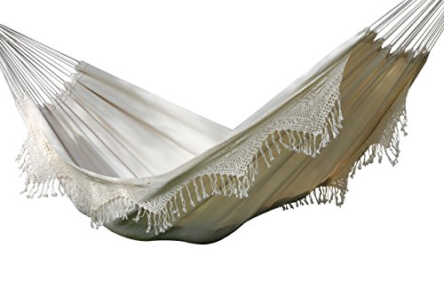 Vivere BRAZ400 Brazilian Style Double Deluxe Hammock - Designed for two, the breathable 100% Cotton fabric of this hammock makes relaxation effortless. Both sides feature a hand-crocheted fringe that adds a classy touch to this all-white hammock. Folds into a compact size so traveling with a hammock is easier than ever. - patio-furniture, patio, hammocks - 41Uv1PwaznL -