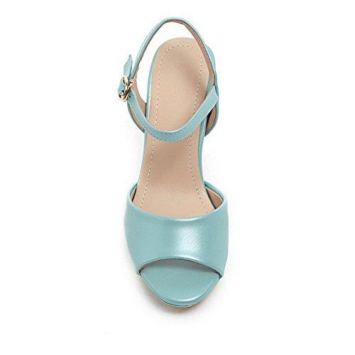 AllhqFashion Women's Peep Toe Buckle Pu Solid High-Heels Sandals Blue zgQDBl