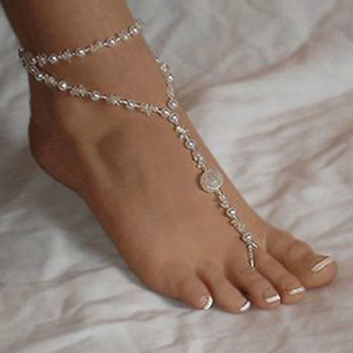 Everyday Bridal Jewelry (Alicenter(TM) Fashion Barefoot Sandal Bridal Beach Pearl Foot Jewelry Anklet Chain)
