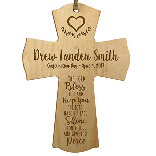 (LifeSong Milestones Personalized Baptism 1st Holy Communion Christening Gifts Custom Wall Cross The Lord Bless You and Keep You The Lord Make HIS FACE Shine Upon You (Maple))