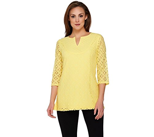 Citron Tunic - Isaac Mizrahi 3/4 SLV Mixed Lace Tunic A274534, Citron, XXS