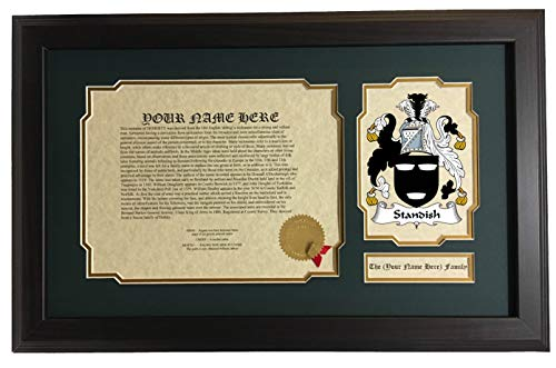 Standish - Coat of Arms and Last Name History, 14x22 Inches Matted and Framed