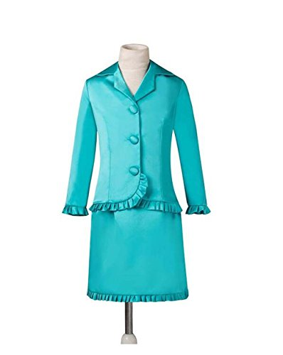 [Aokaixin Girls' Three Buttons Long Sleeve Interview Pageant Suits Ruffles Skirt Blue US14] (Pageant Suits)