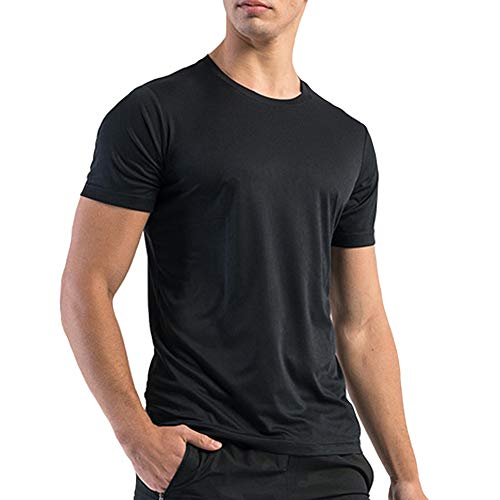 Big and Tall Dry Fit Athletic Shirts for Men Short Sleeve Mens Workout Shirts Moisture Wicking T-Shirt Vlakteven (Black,3XL)