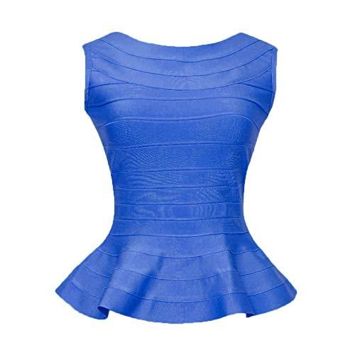 (HLBandage Peplum Sleeveless Pure Color Bodycon Rayon Bandage Tank Top (M, Blue))