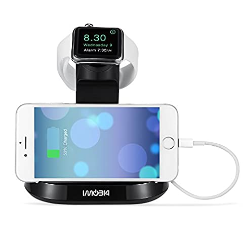 Apple Watch and iPhone Stand, iMobi4 Docking Charging Station & Holder 2 in 1 Dual Cradle for Apple Watch (38/42 mm) and iPhone 6 / 6s, 6 Plus/ 6s Plus, 5s, 5c, 5 - (12 South Iphone 6 Plus Dock)