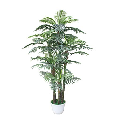 AMERIQUE 6 Feet Magnificent & Dense Tropical Palm Tree Artificial Silk Plant, UV Protection, with Nursery Plastic Pot, Feel Real Technology, Emerald Green ()