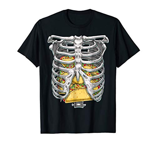 Skeleton Rib Cage T Shirt Halloween Taco Skeleton Costume -