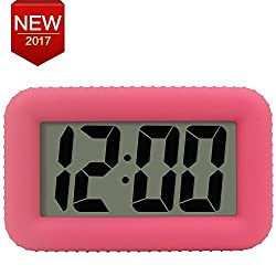 LED Smart Alarm Clock Light with Dimmer Snooze Home Office Bedside Alarm Clock for Student's Dorm Room Desktop Clock Pink