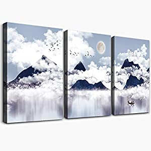 3 piece Framed Canvas Wall Art for Living Room bathroom Wall decor abstract Mountain Canvas pictures modern kitchen…