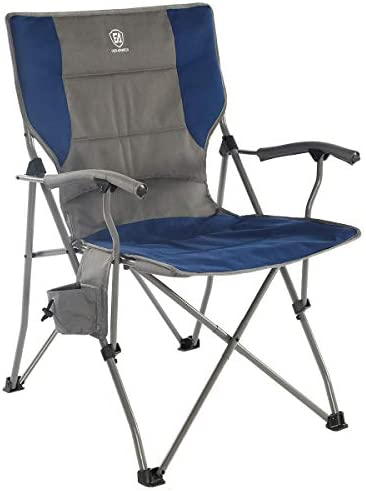 EVER ADVANCED Foldable Camping Chair Padded Arm Chair,Collapsible Steel Frame Heavy Duty Supports 300 lbs