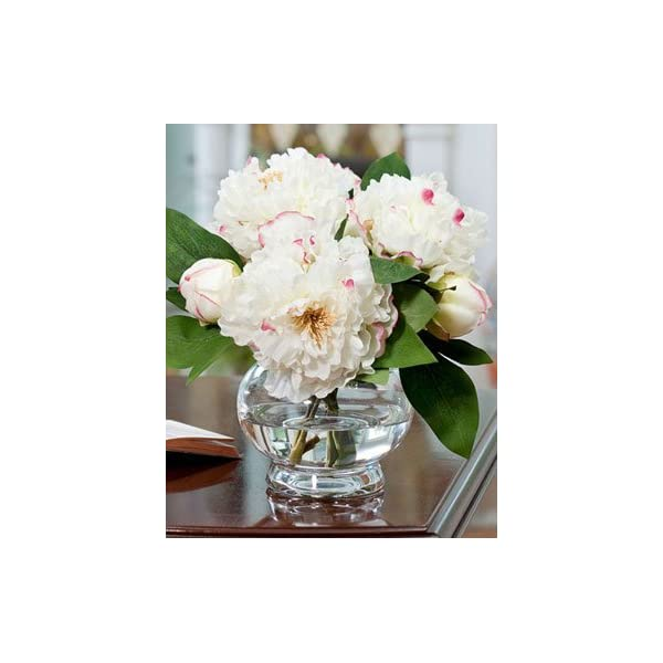 Peony Silk Flower Centerpiece – White