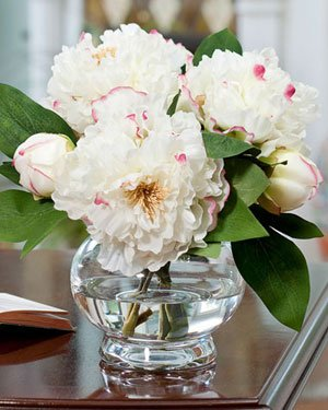 Peony Silk Flower Centerpiece - White
